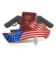 Guns and Holy Bible vector image vector image