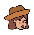 head of woman with hat avatar character vector image vector image