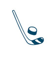 hockey stick and puck icon in doodle style vector image vector image