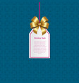 holiday sale sign on small tag with shiny gold bow vector image vector image