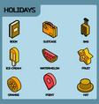 holidays color outline isometric icons vector image