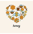 Honey and bee icons in the shape of heart vector image