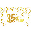 isolated golden color number 35 with word years vector image