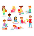 kids reading books child character boy or vector image