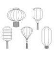 line art black white chinese lantern collection vector image vector image