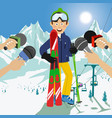 male skier interviewed at a press conference vector image
