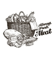meat products hand drawn sketches of food vector image