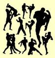 Muay thai duel boxing sport silhouette