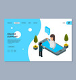 online support landing page isometric vector image