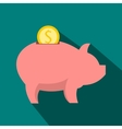 Piggy bank icon flat style vector image vector image