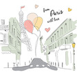 Postcard from Paris street Eiffel tower balloons vector image