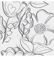 seamless texture meadow flowers black contour vector image vector image