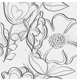 Seamless texture of meadow flowers black contour vector image vector image