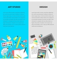 Set vertical banners workplace of a designer vector image vector image