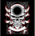 skull head with horn hand drawing vector image