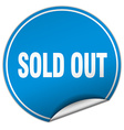 sold out round blue sticker isolated on white vector image vector image