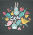 spring easter greeting card with cartoon vector image vector image