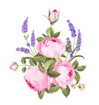 spring flowers bouquet of color bud garland label vector image vector image