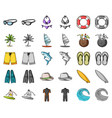 surfing and extreme cartoonmonochrom icons in set vector image vector image