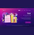 tax form concept landing page vector image vector image