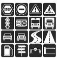 traffic and direction icons set vector image vector image
