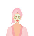 woman with mask and cucumbers vector image