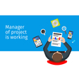 Work with a startup Flat peoples top view vector image