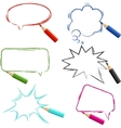 Set of hand-drawn speech bubbles with pencils vector image