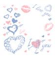 love doodle romantic background vector image