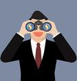 Businessman use binoculars looking for money vector image
