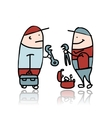 Mechanic with wrench and suitcase for instruments vector image