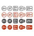 21 plus years old icon set adults content signs vector image vector image