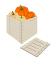 A Pile of Pumpkins in Wooden Cargo Box vector image vector image
