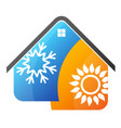air conditioning sun and a snowflake in the house vector image vector image