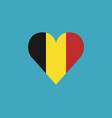 Belgium flag icon in a heart shape in flat design