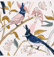 botanical print with navy parrot and exotic vector image
