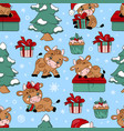 bull and christmas tree seamless pattern vector image vector image