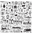 Camping doodles set vector image