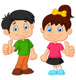 Cartoon boy and girl giving thumb up vector image vector image