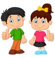 Cartoon boy and girl giving thumb up vector image