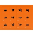 Checkout icons on orange background vector image vector image