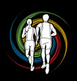 couple running marathon runner man and woman run vector image vector image