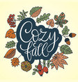 cozy fall autumn card vector image