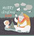 cute girl and polar bear sitting on ice floes vector image