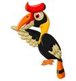 cute horn bill cartoon waving vector image