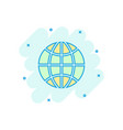 earth planet icon in comic style globe geographic vector image vector image