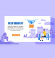 fast delivery horizontal banner with copy space vector image vector image
