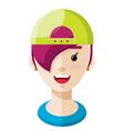 girl wearing a green ball cap flat icon vector image vector image