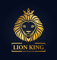 gold lion king head mascot on black background vector image