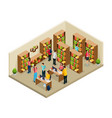 isometric university library concept vector image